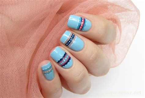 Stripes And Dots On Light Blue