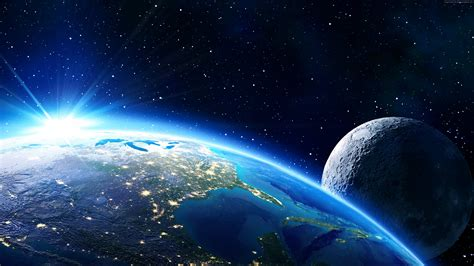 Wallpaper Earth Moon Planet Star Space