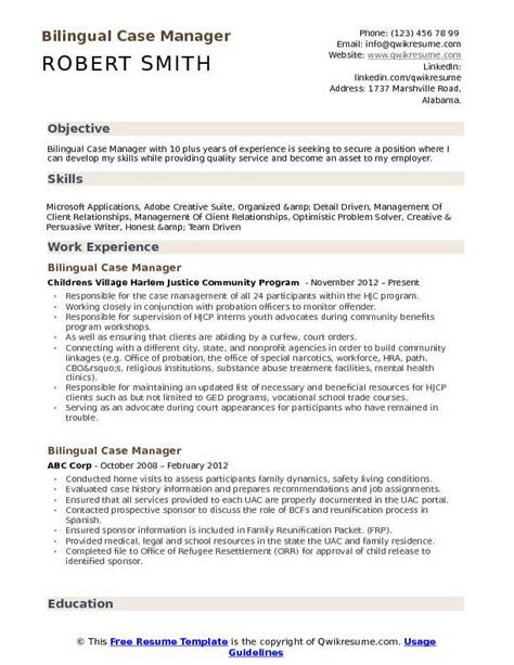 bilingual case manager resume sles qwikresume