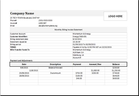billing statement monthly billing invoice statement for excel excel templates