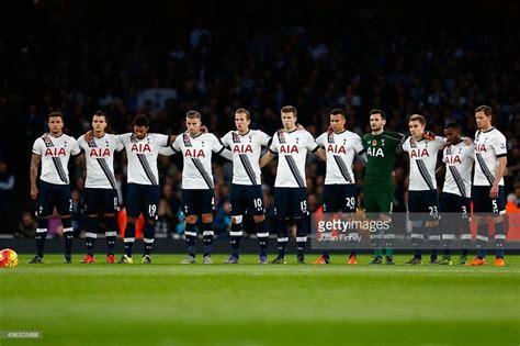 The Spurs team line up before the Barclays Premier League ...