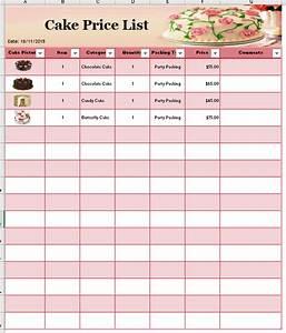 Cake price list template printable templates for Cake price list template