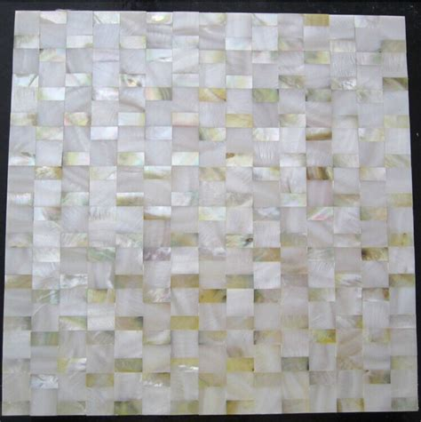 yellow gold of pearl shell mosaic kitchen wall