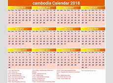 Free Cambodia 2018 calendar printable with holidays list