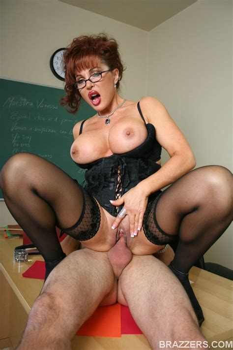 Milf Teacher With Big Tits Sexy Vanessa In Glasses Shows