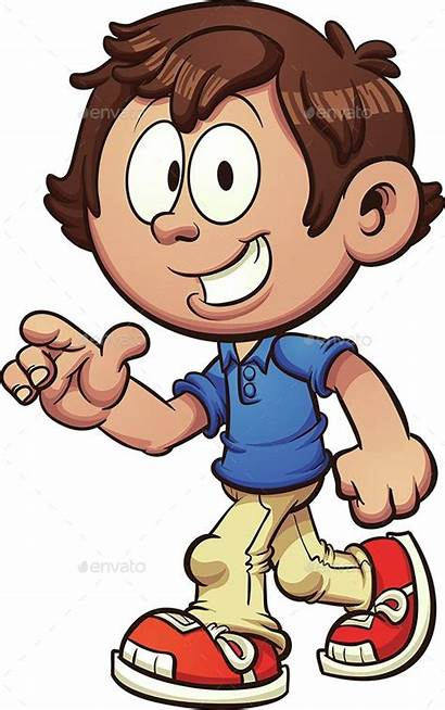 Walking Cartoon Boy Clipart Clip Pointing Vector