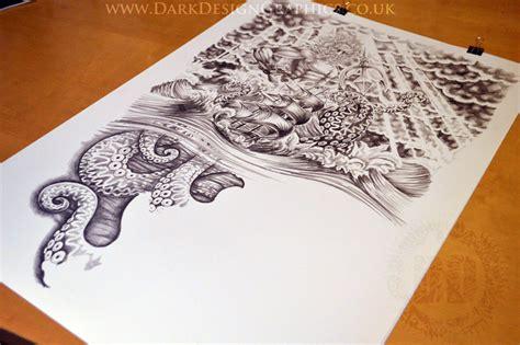 nautical tattoo design full sleeve dark design
