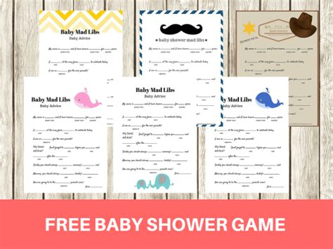 printable baby shower mad libs game baby advice game
