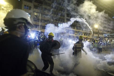 police launch tear gas  hong kong protest turns violent news