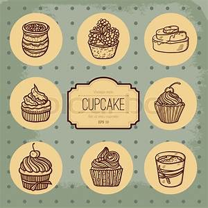 Background with cupcake and lace. Sweet Cupcake Set. Blue ...