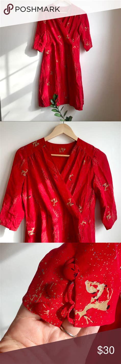 beautiful red silk vintage dress  deer print silk