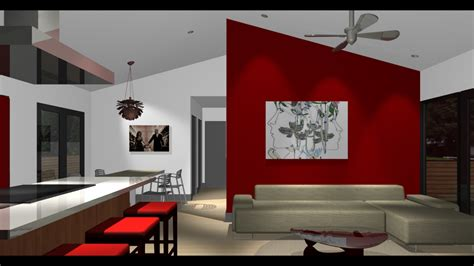 Red Accent Wall Living Room Design