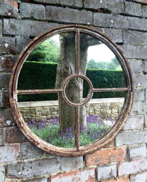 garden vintage rustic circular window mirror