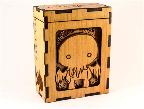 mtg custom wood deck boxes cthulhu chibi h p lovecraft magic the gathering deck box