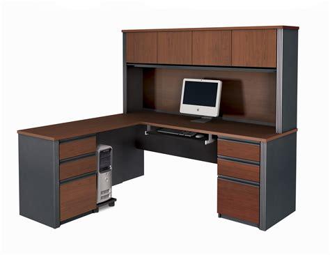 furniture bureau desk bestar prestige l shaped desk and hutch