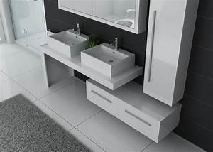 Meuble De Salle : meuble de salle de bain blanc double vasque meuble double vasque design dis9350b ~ Nature-et-papiers.com Idées de Décoration