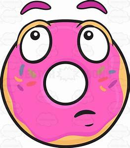 Donut With Wondering Look On Face Emoji Cartoon Clipart ...