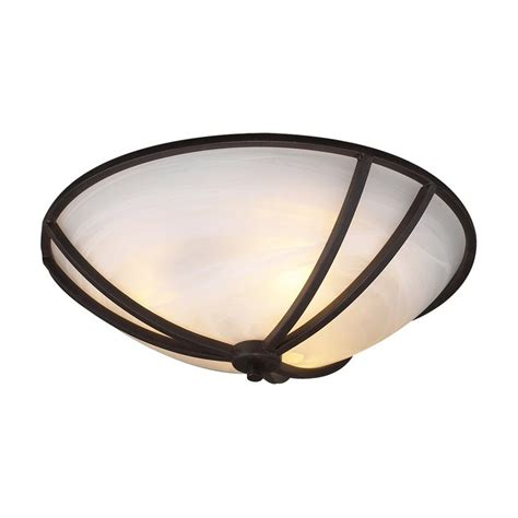shop plc lighting highland 16 in w rubbed bronze flush