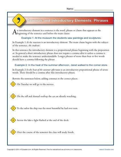 commas and introductory elements phrases worksheets
