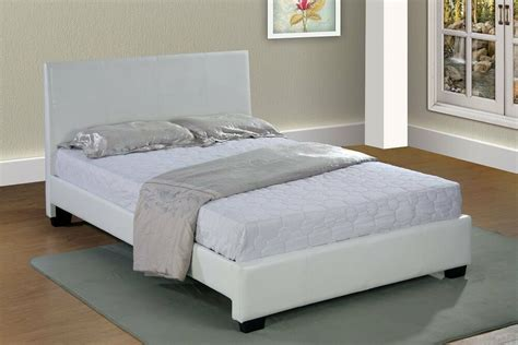 White Faux Leather Queen Size Platform Bed Frame & Slats