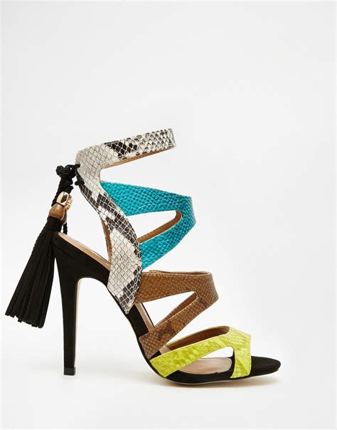 colored heels multi color strappy heels is heel