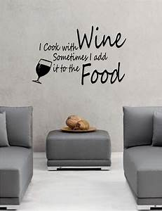 i cook with wine wall art vinyl lounge kitchen quote ebay With wall art quotes