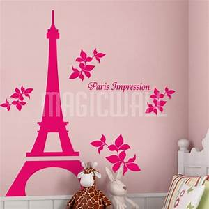 Wall decal awesome pink eiffel tower wall decal eiffel for Awesome pink eiffel tower wall decal