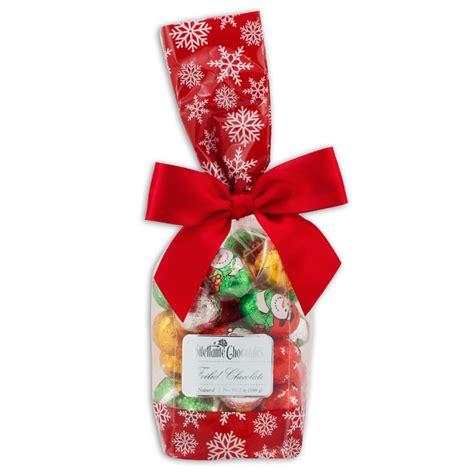 Chocolate Christmas Candy Gift Bag, 7oz Foiled Santas, Snowmen & Ornaments   Dilettante Chocolates