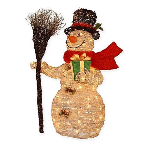 pre lit rattan snowman holiday decoration with clear