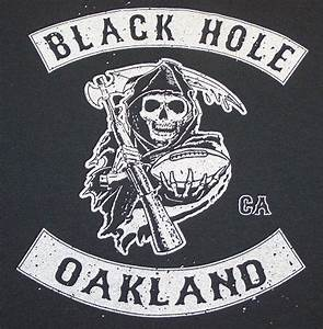 Oakland Raiders Biker Style Black Hole T-Shirt Silver and ...