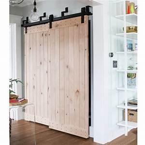 5ft 10ft bypass sliding barn wood door hardware country With 5 ft wide barn door