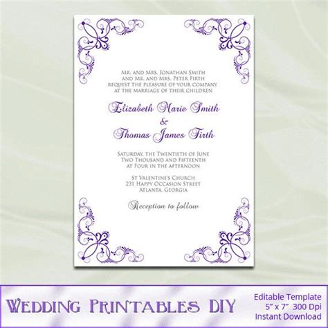 purple wedding invitations template diy by