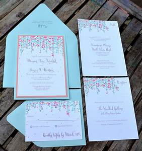 coral and mint beautiful dangling flowers create a border With pocket wedding invitations minted