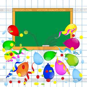 Bright colored balloons and blackboard vector image