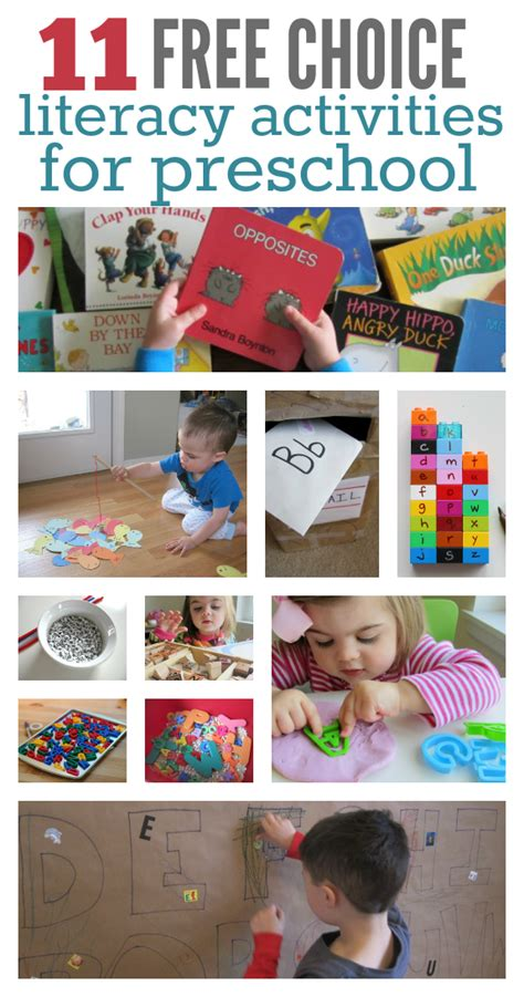11 literacy activities for preschool free choice time no 146 | literacy activities for preschool