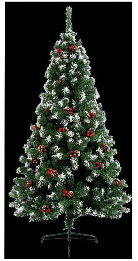 snow and berries christmas tree 2 1m snow tipped berry pine cone tree