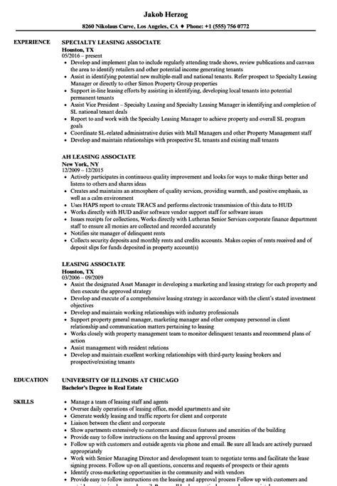 Sle Leasing Resume by Leasing Associate Resume Sles Velvet