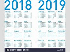 Simple Blue Calendar for years 2018 and 2019, in vectors