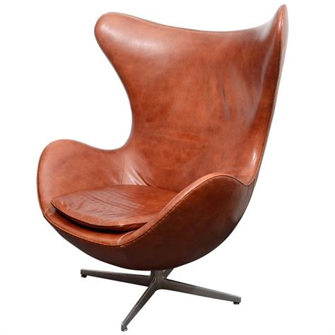 vintage egg chair in brown leather by arne jacobsen