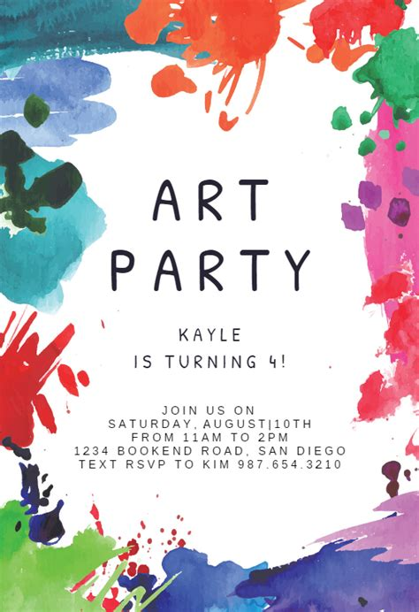 art party birthday invitation template