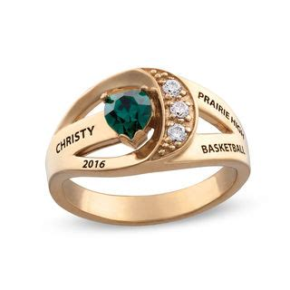 design your own class ring shaped simulated birthstone and cubic zirconia