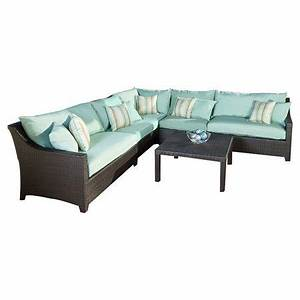 6 piece cabo outdoor sectional sofa set in light blue at With sectional sofa joss and main