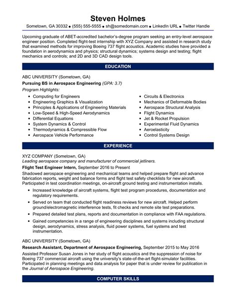 sle resume for an entry level aerospace engineer
