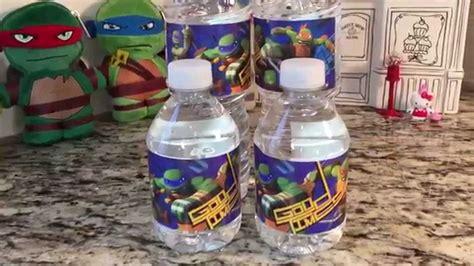 ninja turtle water bottle labels birthday party   youtube
