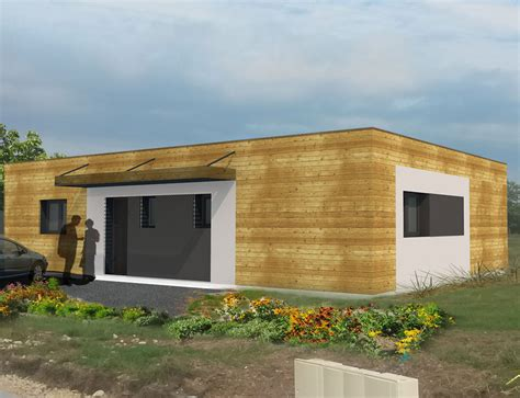 maison ossature bois contemporaine toit plat maison moderne a toit plat et ossature bois nos projets maison plain pied