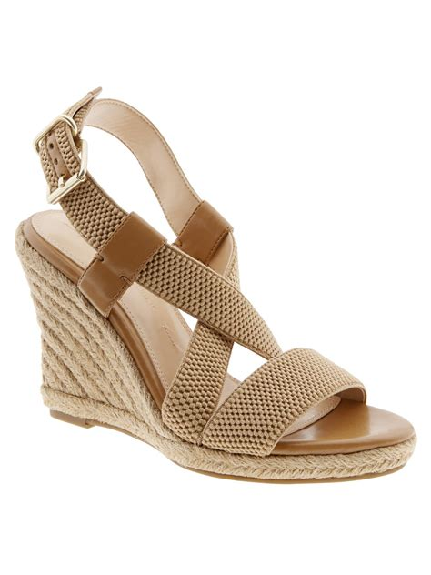 lyst banana republic pipperr espadrille wedge  brown