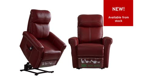 Easy Lift-up Recliner Armchair In Real Leather