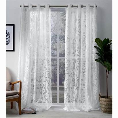 Curtains Sheer Curtain Grommet Window Panel Panels