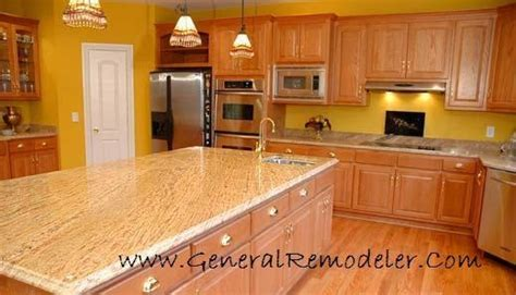 backsplash panels kitchen madura gold granite counters with honey oak cabinetry and 1435