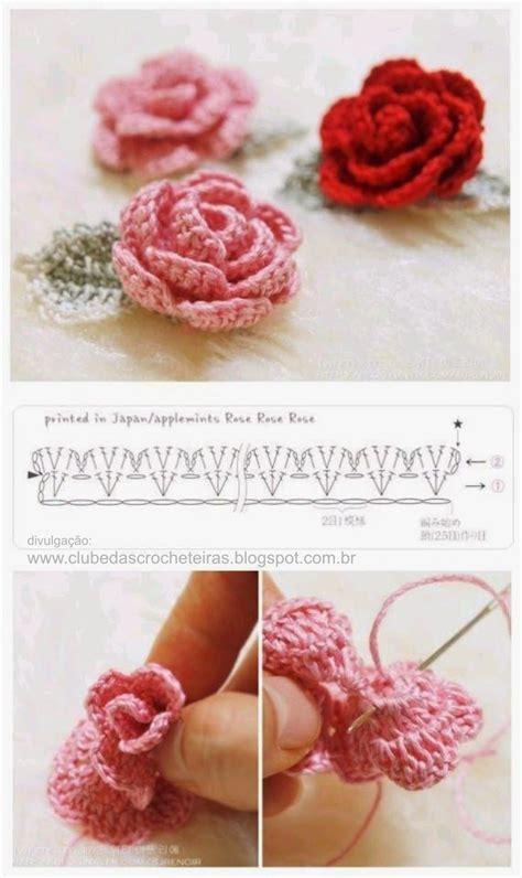 Crochet Rose Flower With Leaf Free Pattern Diagram